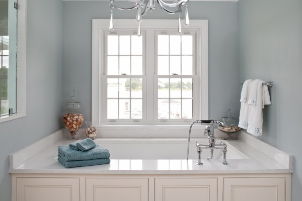 Simonton Double Hung Windows in Bathroom