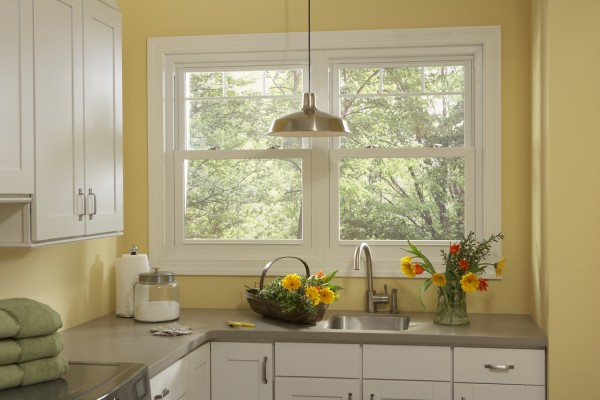 Simonton Double Hung Windows in Laundry Room