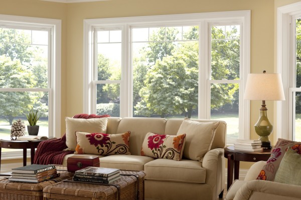 Simonton Double Hung Windows in Living Room