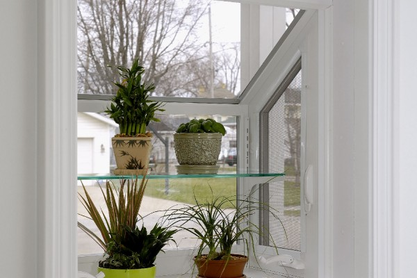 exterior view of Simonton garden window with plants on shelves