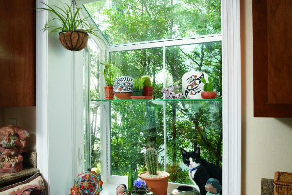 Interior view of Simonton garden window with plants
