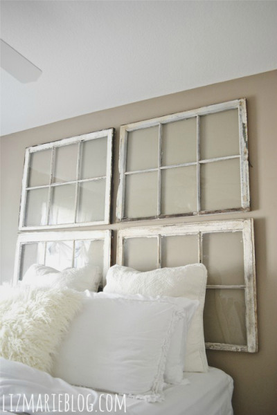 Upcycle old wood windows into a headboard