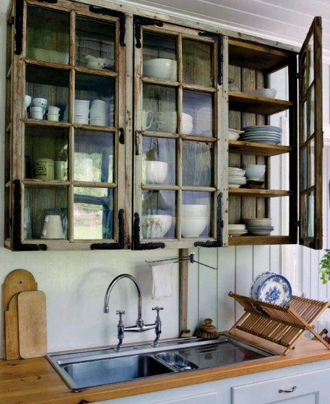10 ways to upcycle old wood windows in your home - Cabinet made from old doors ...