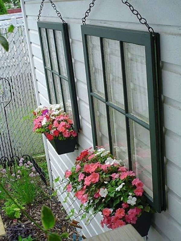 Old Wood WIndows Make Great Window Boxes