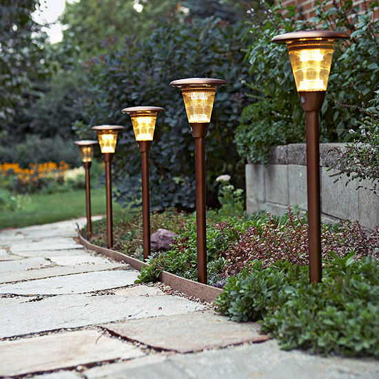 Curb appeal lighting can be easily added with these sidewalk lights.