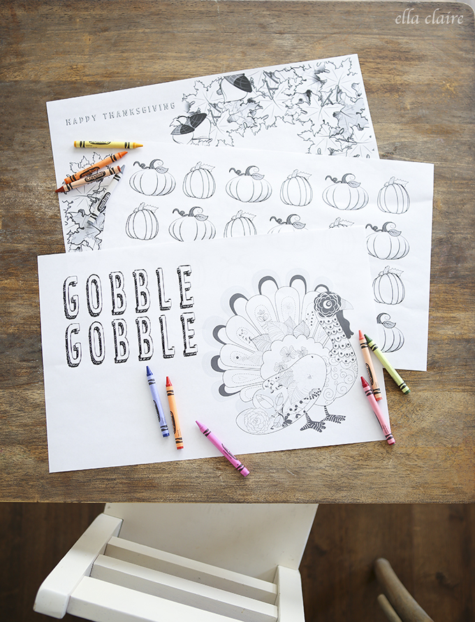 Printable Thanksgiving Decorations Kid's Coloring Sheets