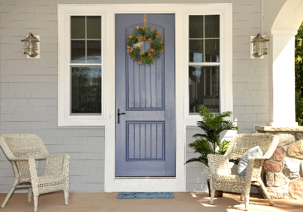 2016 color of the year Serenity makes this front door stand out.