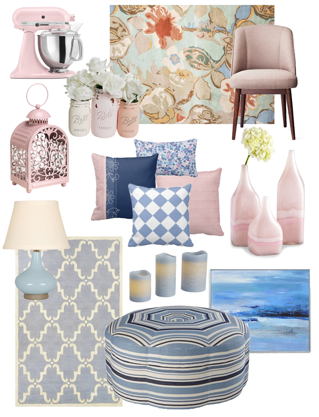 2016 colors of the year-Rose Quartz and Serenity accessories for your home.