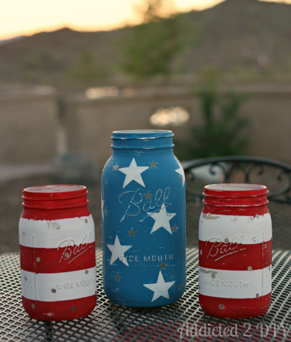 American flag Mason jars and other patriotic decorations
