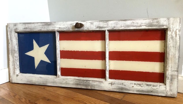 Upcycled old door into fourth of July decoration