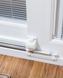 A footbolt adds extra security to a sliding patio door.