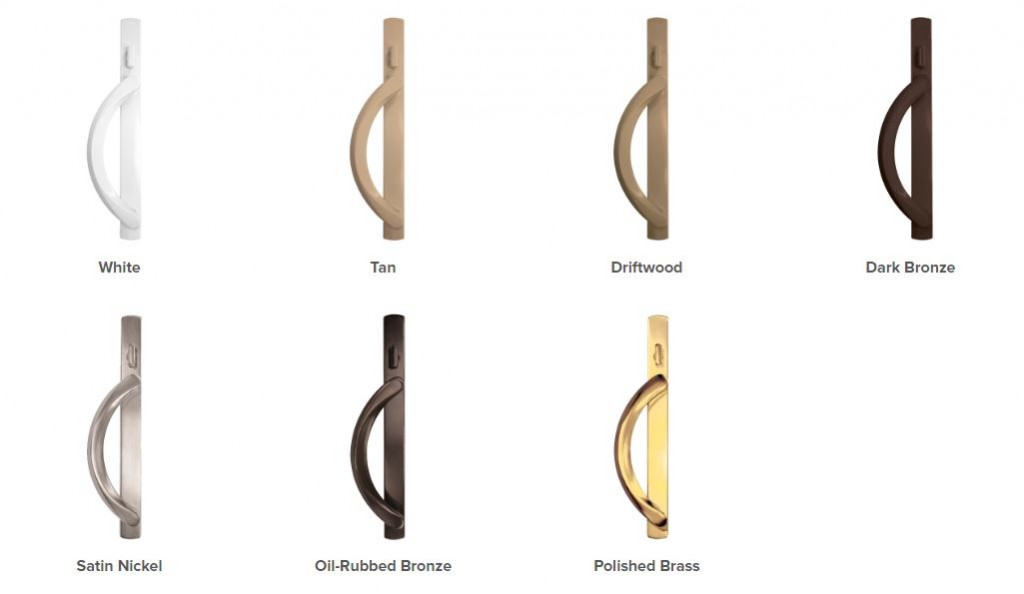 Patio door hardware comes is a variety of finishes.