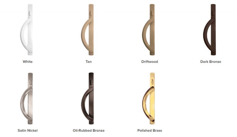 Simonton Windows and Doors' sliding patio door hardware options.