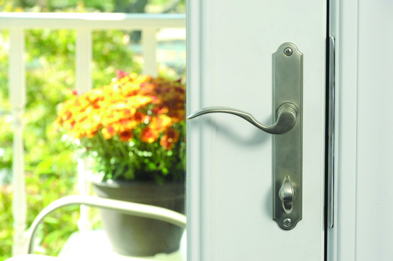 Patio door hardware in nickel.