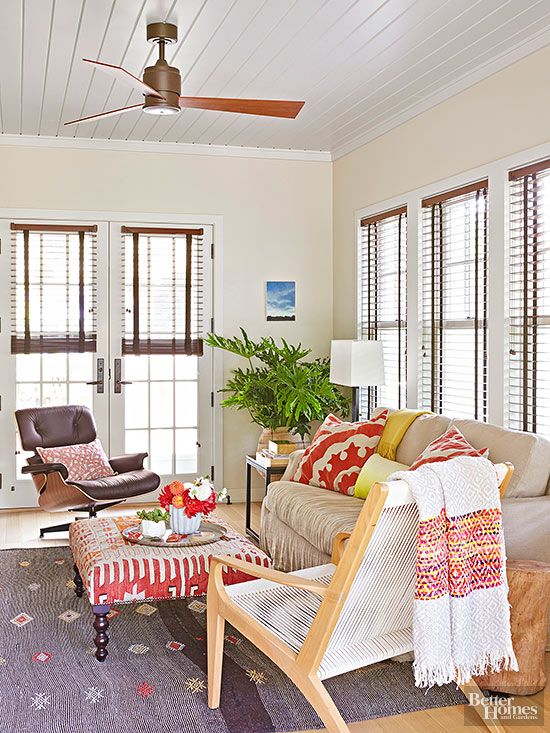 Window treatment ideas for difficult to decorate windows for Ways to set up your living room