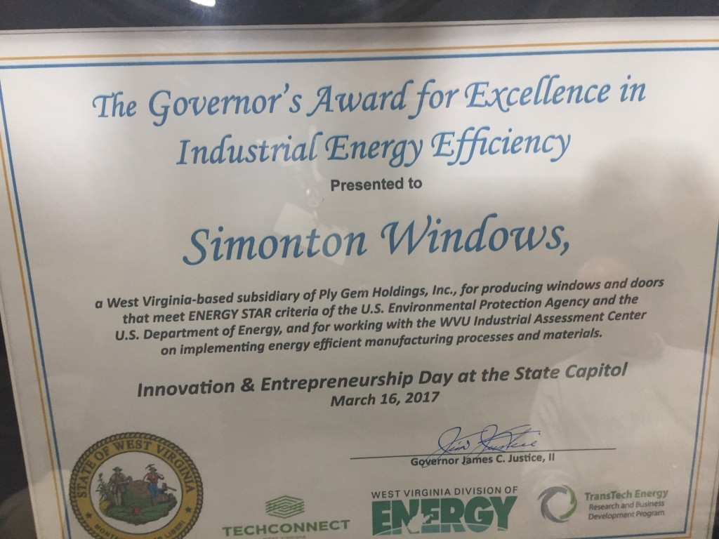 Ply Gem Receives West Virginia Governor's Award for Industrial Energy Efficiency