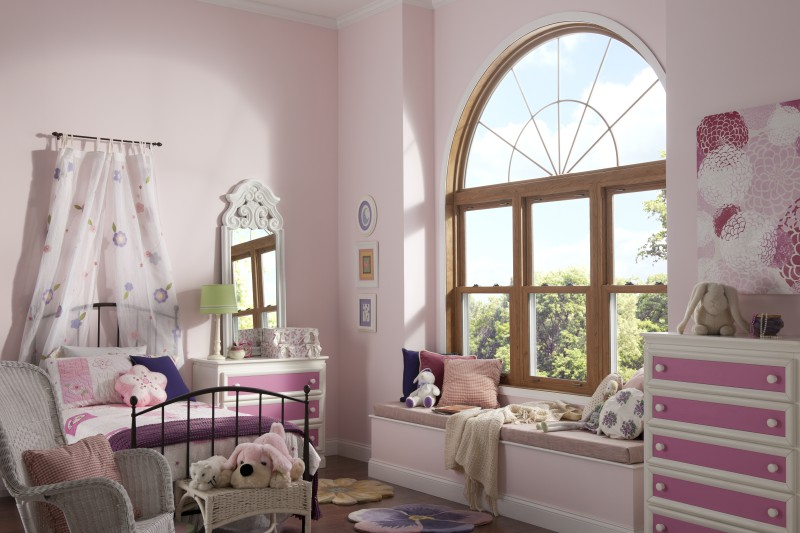 Arched window with grilles.