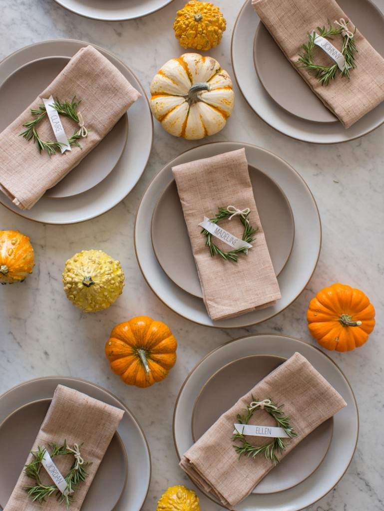 Use rosemary to create a unique place card for your Thanksgiving table. Find more Thanksgiving decorating ideas here.