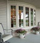 Exterior view of bay window on a porch