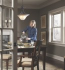 Double hung vinyl replacement windows are beautiful in cozy dining room during winter