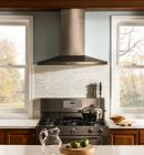 Two double hung windows in contemporary kitchen