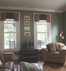 Two double hung windows in historic style lounge