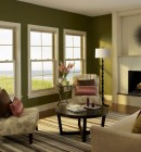 Three double hung windows in a contemporary living room.