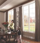 Interior view of two dining room double hung windows