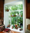 Garden window in sunroom displaying desert plants