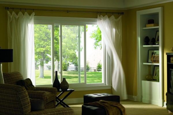 Simonton Prism Platinum Slider Window in Living Room