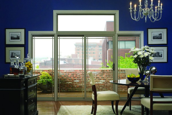 Sliding patio doors in a contemporary dining room.