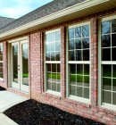 Simonton Single Hung Exterior view on Brick house