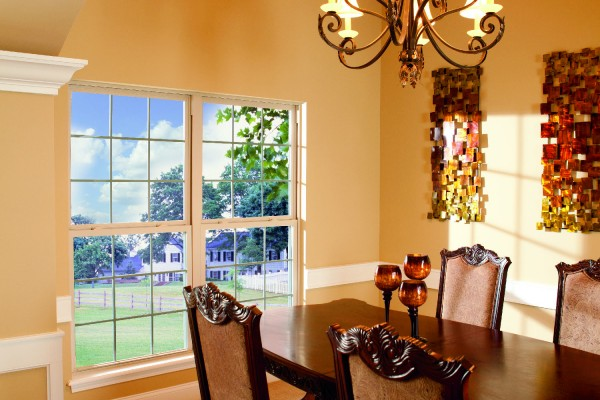 Two single hung windows in classic dining room