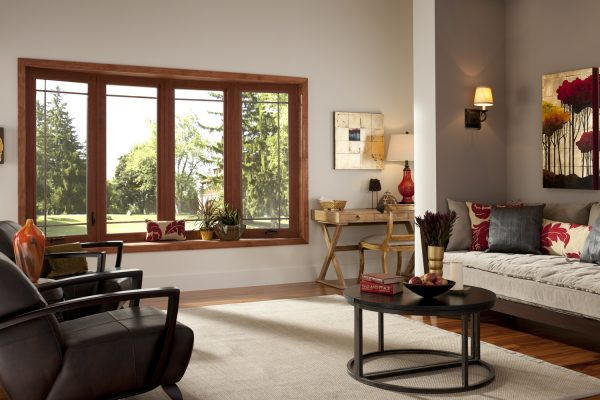 Cherry wood grain bow window in spacious living room