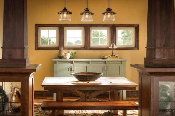 Four picture windows in a rustic kitchen