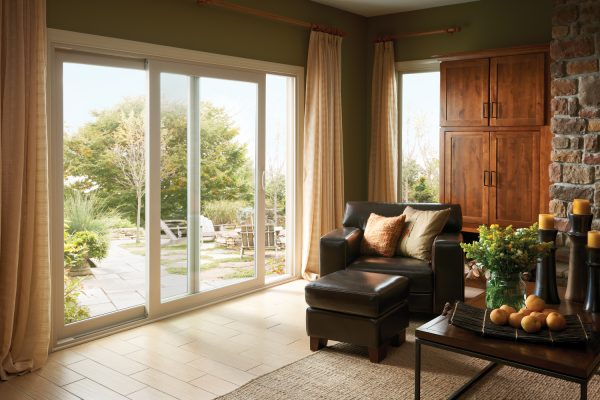 Sliding patio door in traditional living room